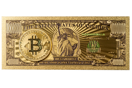 American Gold Banknote $ 1 Million Dollars and bitcoin isolated on a black background Banco de Imagens