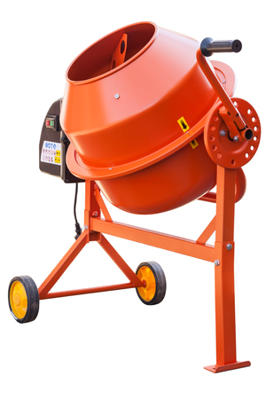 Orange Concrete mixer isolated on the white background