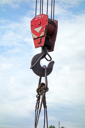 Crane hook for cargo up to 25 tons against the sky Stok Fotoğraf