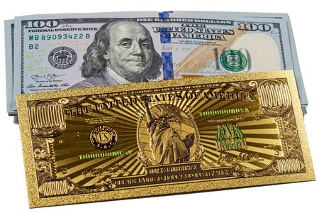 Souvenir American Gold Banknote 1 Million and a pack of 100 dollars on a white background