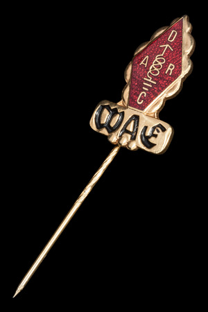 Golden badge of radio amateur diplom WAE - worked with all of Europe, isolated on black background Editorial