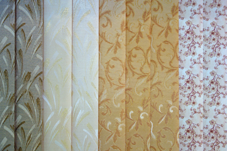 Background from the curtains of textile blinds