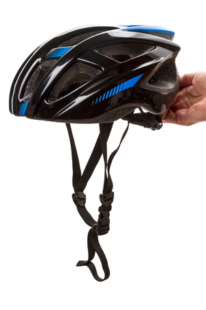 Bicycle helmet in hand isolated on white background