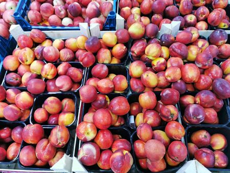 Boxes of fresh Nectarines in supermarket. Nature background Stock Photo