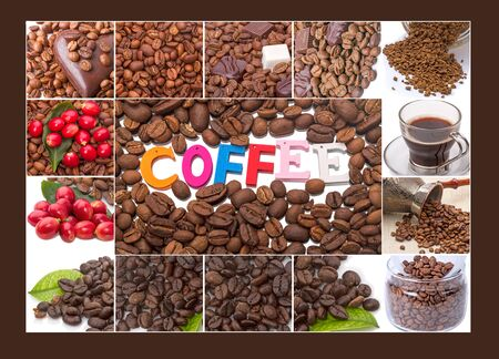 Collage from coffee beans and Single word