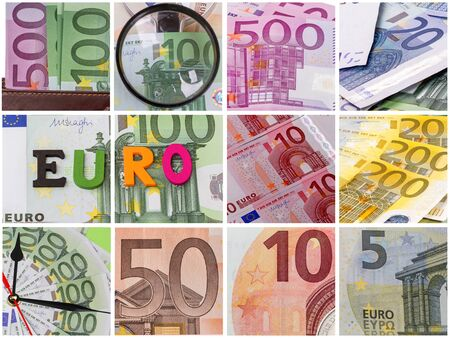 Collage with different details of paper euro Stock Photo