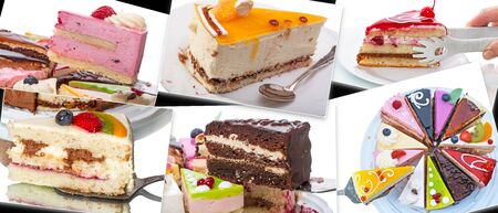 Collage with different pieces of cake in the photo Stock Photo
