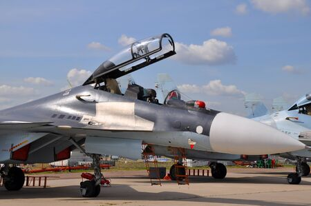 The military fighter on airshow
