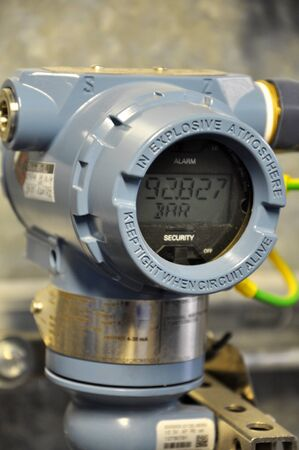 The pressure transmitter installed on process equipment