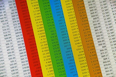 The spreadsheet of finance calculation