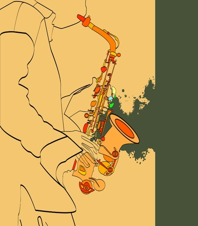 saxophone and musical person, vector Vector