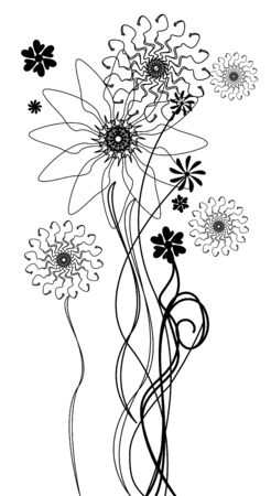 black and white vector flowers Stock Vector - 10363988