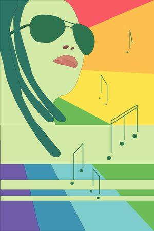 stripping: chica de gafas, arco iris y notas Vectores