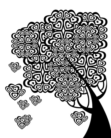 friendship day: graphic tree of love with hearts, background for text Illustration