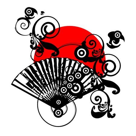 bandera japon: dise�o de s�mbolo de vector de Jap�n con ventilador
