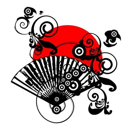 japanese flag: japan vector symbol design with fan