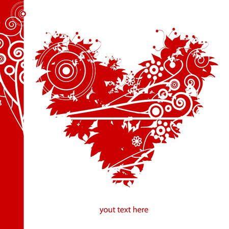 red valentines heart, background for text Illustration