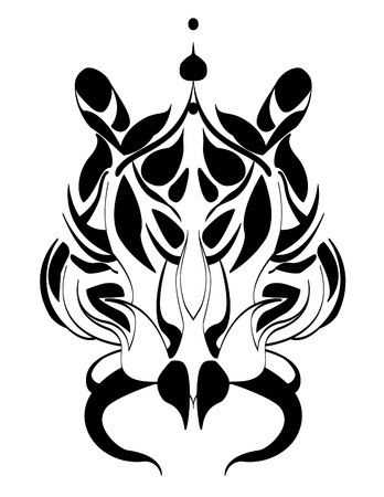 tigers head tattoo trible Vector