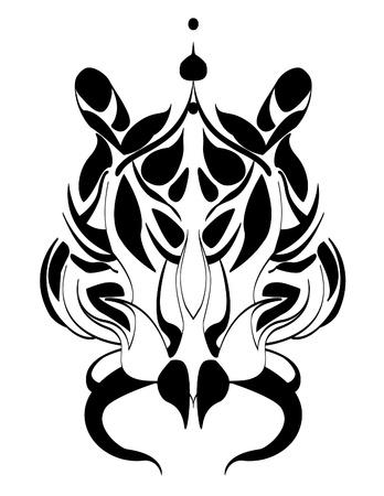 tigers head tattoo trible Vector