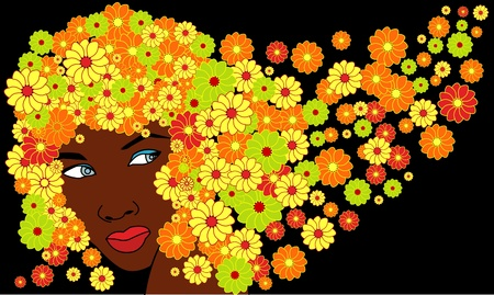 saxy: vector cute saxy african girl with floral hairs Illustration