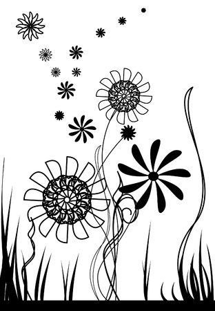 black: black and white vector flowers