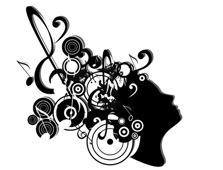 vector music illustration with woman face and notes Vector