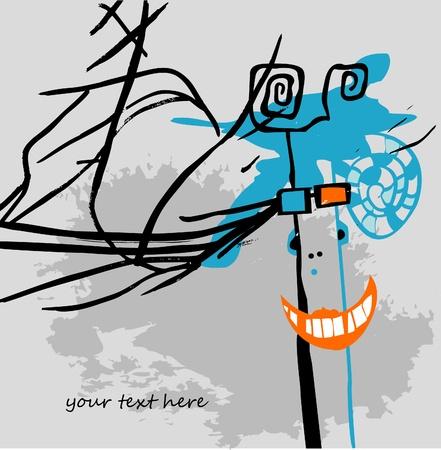 baile caricatura: Vector sonriente amigo, Fondo para el texto