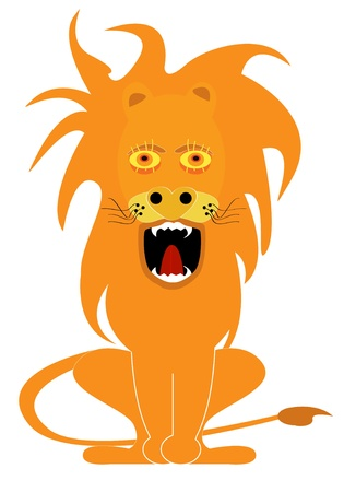 gnarling lion cartoon Vector