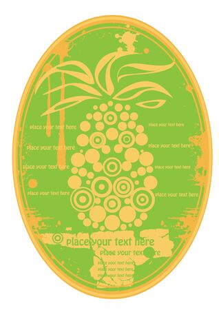 elipse: green elipse fruit juice label with pineapple Illustration