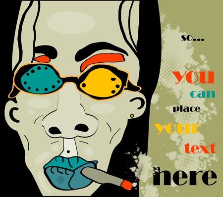 joven fumando: hombre de pelo rock con fondo grunge de cigarrillos y gafas y Caqui, estilo retro