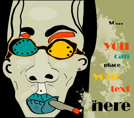 longhaired rock man with cigarette and glasses and khaki grunge background, retro style Vector