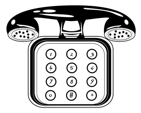 communication tools: retro black and white telephone