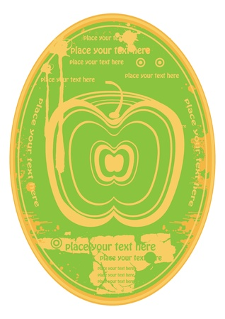 elipse fruit juice label with green apple Vector