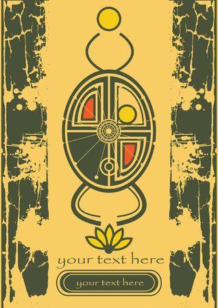 scarabeo: egiziano scarabeo vettore con loto e sole sulla vecchia carta