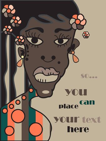 adolescent african american: vector african young woman, family portrait background, grunge retro style Illustration