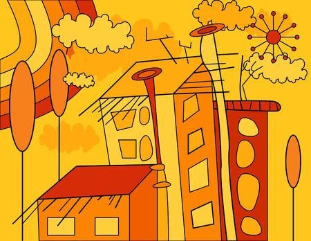 yellow and orange vector autumn illustration with city, houses, trees, rainbow, clouds and sun