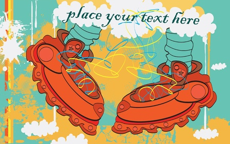 dude: vector red boots with stars and laces in the clouds, retro fashion feet background