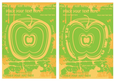 set of two rectangle juice labels with apple Vector