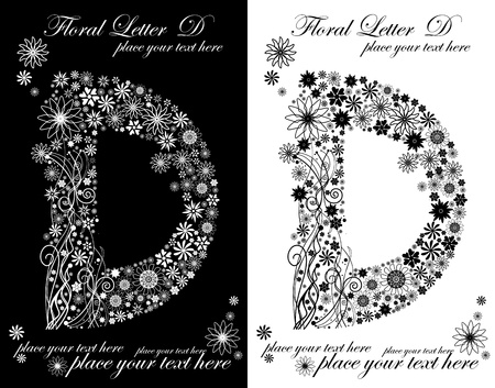 two black and white letters of vintage floral alphabet, D Vector