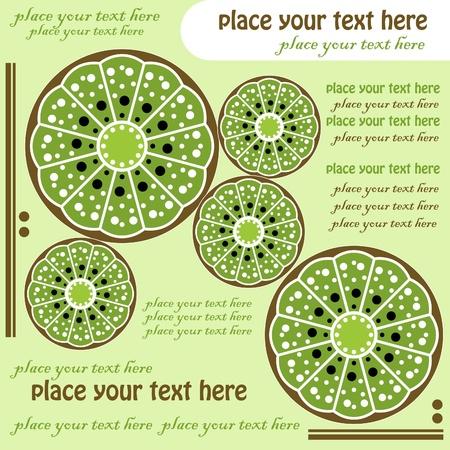 green kiwi, menu design Vector