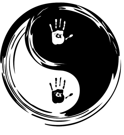yin yang symbol: yin yang, heart and hands Illustration