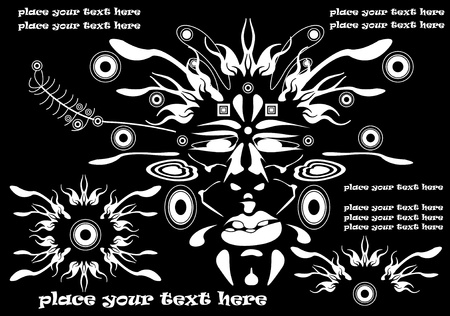 warrior tribal tattoo: traditional vector tribal mask, background for text