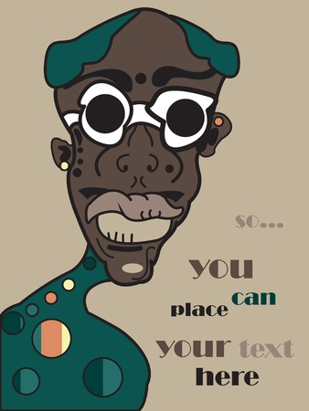 vector african man, family portrait background, grunge retro style Vector