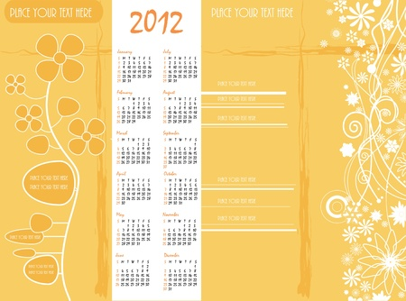vector book brown cover with calendar and old paper floral design Illustration