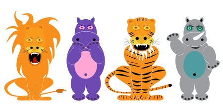 lion, tiger, hippopotamus, rhinoceros, animals set vector cartoon Vector