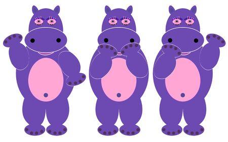 hipopotamo caricatura: conjunto de tres dibujos de hipopótamos lindo vector