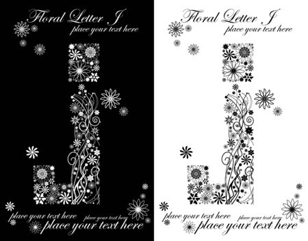 two black and white letters of vintage floral alphabet, J Vector