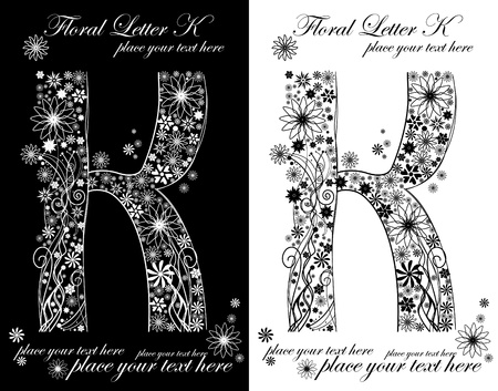 two black and white letters of vintage floral alphabet, K Vector
