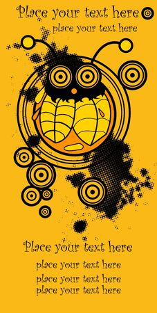 vector funny crazy bee, halloween yellow background for text Vector