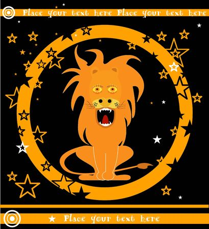 vector illustration with gnarling lion in orange circle and stars Vector